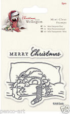 Docrafts Wellington the bear in bed  Merry Christmas clear rubber stamp set of 2