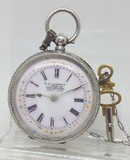 Antique solid silver ladies H.R. Goodwin pocket watch c1900 ticks
