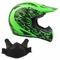 Snowmobile Helmet Snocross Green Splatter w/ Breathbox Adult DOT Snow Open Face