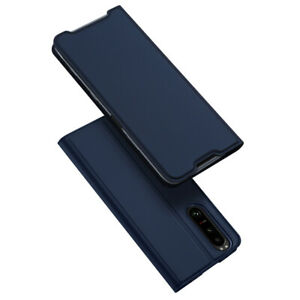 DUX DUCIS Faux Leather Wallet Smart Flip Case Cover for Sony Xperia 5 III - Blue