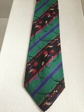 KENZO PARIS MULTI COLOR STRIPES AND MINI FLORALS PRINT SILK TIE MADE IN ITALY