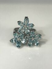 **STERLING SILVER AQUAMARINE RING SIZE 7.75**