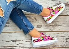 Geometric Lace Up Synthetic Upper Trainers for Women