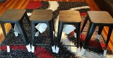 BAR STOOLS - SET OF 4 BRAND NEW BLACK METAL & WOOD