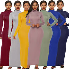Women Bodycon Solid Turtleneck Casual Slim Long Sleeve Stretch Party Maxi Dress