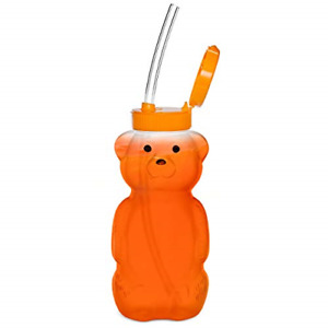 Special Supplies Juice Bear Bottle Drinking Cup with 3 Long Straws, Squeezable