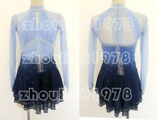 New Girls women Ice Figure Skating Dress For Competition blue dyeing