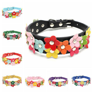 Adjustable Pet Puppy Dog Cat Collar Necklace PU Leather Flowers Neck Strap Gifts