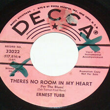 45 RPM Ernest Tubbs There's No Room In My Heart Decca Pink PROMO Vinyl 32022 VG+