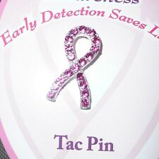 """Breast Cancer Awareness Tac Pin with Pink Sparkling  Crystals 1"""" H x 1/2"""" W"""