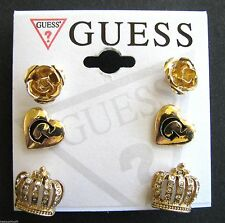 NEW SET OF 3 GUESS GOLD TONE EARRINGS; ROSE,HEART,CROWN w/CRYSTAL ACCENT STUD