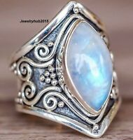 Rainbow Moonstone Solid 925 Sterling Silver Ring Band Ring Handmade Ring m18kj56