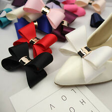 Simple Fashion Color Black White Red Blue Plastic Bow Shoe Clips Pair