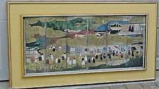 ANTIQUE19c JAPANESE LARGE GOLD SCROLL PRINT HOUSED IN DOUBLE CUSTOM WOOD FRAMES