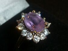 10K SOLID YELLOW GOLD AMETHYST & CLEAR STONE ACCT. RING - SIZE 7 1/4 -3.37 GRAMS