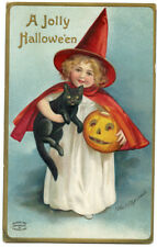 Clapsaddle Halloween Red Child Witch with Black Cat & JOL