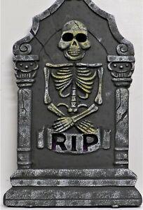 "RIP Skeleton Foam Halloween Graveyard Tombstone with LED Lights (21"") F6534"