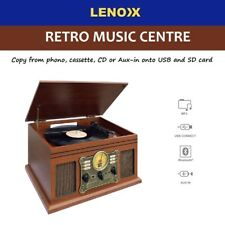 Bluetooth Turntable LP Vinyl Record Player Recorder AUX MP3 CD Cassette RETRO