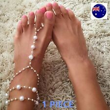 Women Lady Belly Dance Beach Party Bride Bridemaid Sandals Pearl Foot Anklets
