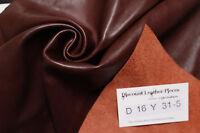 """Marlow Brown"" Leather Cowhide Remnant - Appx 2 sqft D16Y31-5"