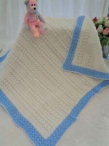 Handmade quality crochet Blanket Baby Toddler Newborn Reborn -cream blue