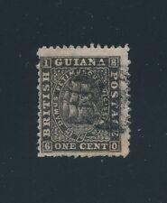 British Guiana #45 (1866) 1c BLACK; PERF 12 1/2 x 13; NARROW SPACE VALUE & CENT