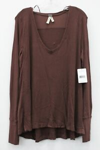 Free People NWT Brown Waffle Knit Scoop Neck Top Size L MSRP $68