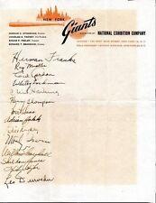 1949 NEW YORK GIANTS Signed team sheet - 14 autographs, Hank Thompson, Irvin ++