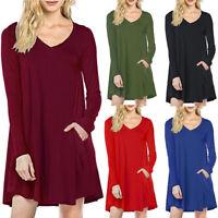 Women Casual Long Sleeve Tunic Jumper Dress Loose V-Neck Mini Shirt Dress Pocket