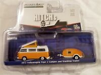 Greenlight - 1:64 Hitch & Tow 1972 VW Type 2 Camper and Trailer (BBGL51035O)