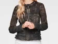G Star Raw Black Distressed Biker Denim Jacket Ladies XS *Ref43
