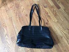 Furla Black Purse Tote Shopping Shoulder Bag Embossed Leather Like Material