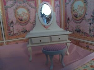 """DOLLHOUSE """"WHITE VANITY WITH MATCHING STOOL"""""""