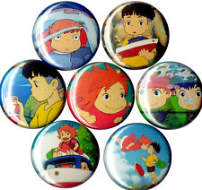 Ponyo set of 7 pins buttons badges Studio Ghiibli Sususke on the cliff anime