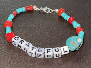grateful bracelet handcrafted beaded turquoise red beads
