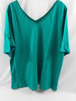 Women's Plus Double V Collar Satin Trimmed Shirt - Elbow Length Sleeves Jade