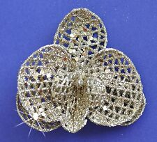 """3"""" Bright Gold Sparkle Orchid Hair Clip Holiday Special Occasion Christmas"""