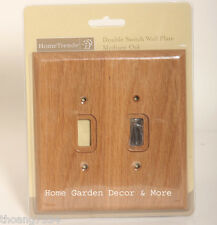 Medium OAK Wood Double Light Switch Wallplate Wall Plate Outlet Cover