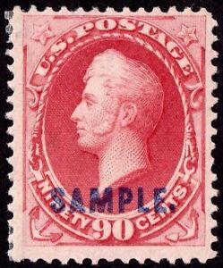 US # 191s TYPE K *MINT OG H* { 90c CARMINE PERRY } BEAUTY SAMPLE OVERPRINT 1879