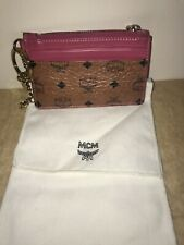 100% Authentic MCM Coin Purse Credit Card Wallet Pinks Cognac Leather