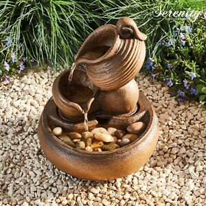 Serenity Table Top Cascade Bowls Water Feature 27cm Garden Fountain Ornament NEW