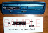 1967 CHEVELLE SS 396 GAUGE FACES for 1/25 scale REVELL KITS