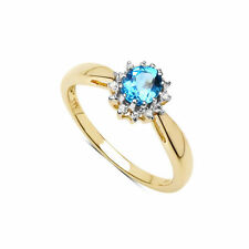 Topaz Yellow Gold Cluster Engagement Fine Rings