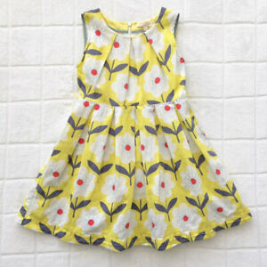 Mini Boden Yellow White Floral Linen Dress Sz 7-8 - EUC!