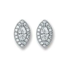 925 Sterling Silver Marquise Cluster Cubic Zirconia Studs Earrings Gift Boxed