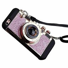 Retro Design Camera cell phone case- Bling Pink iPhone 7plus