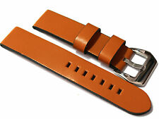 Diloy Plain Unstitched Leather Watch Strap. 20, 22, 24mm Black, Tan and Brown