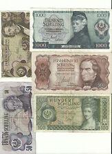 Banknotenserie 1000 500 100 50 20 Schilling 1965 - 1970 gebraucht Eiamaya