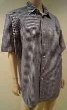 POLO RALPH LAUREN Menswear Blue & White Cotton Check Short Sleeve Casual Shirt L