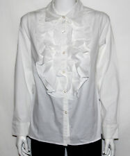 NEW Dennis Basso Size XS WHITE Stretch Button Front Ruffle Blouse Long Sleeves